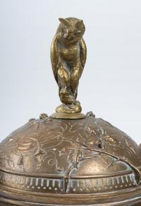 Coupe couverte en bronze et marbre, XIXème