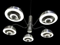 LUSTRE des années 1970 en chromé mate et brillant 5 lumières