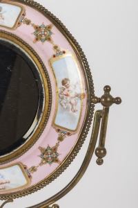Miroir en bronze et plaque en porcelaine fin 19e siècle