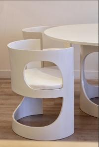 Arne Jacobsen White Lacquered Pre Pop Dining Room Set for Asko, 1969