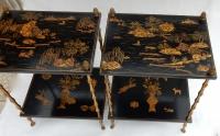 1950′ Paire de Tables Maison Baguès Décor Bambou en Bronze Doré Avec Plateaux Laque de Chine 40 X 30 X H 58