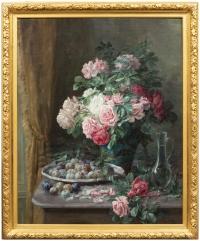 Furcy de Lavault (1847-1915) - Nature morte de roses et de prunes