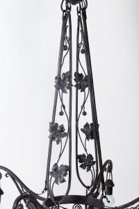 Lustre Art Déco 1930 en fer forgé à 4 lumières