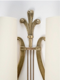 """1950s Pair of Maison Charles Neoclassical """"Lyre"""" Bronze Sconces"""