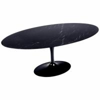 "Saarinen & Knoll International Table ""tulipe"", marbre Marquina et Rilsan noir"