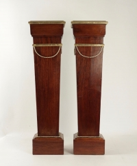 Pair Of Sheaths, Consols, Mahogany, Golden At The Gold Leaf, 19th Century, Napoleon III