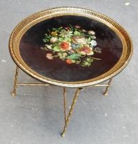 1950/70 Table Basse Plateau Laque de Chine  Maison Bagués en Laiton,Pieds Griffe
