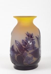 E.Gallé Vase Jaune & Bleu