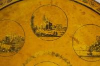 Plateau En Tôle d'époque Directoire Représentant Des Monuments De La Ville De Lyon