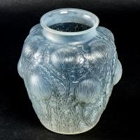 """Vase """"Domrémy"""" verre opalescent double couche patiné gris de René LALIQUE"""