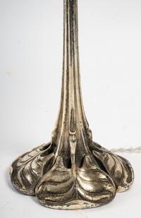 Lampe en bronze argenté d'Edouard Colona, XXème siècle