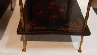 1950' Paire de Tables Maison Baguès Decor Bambou en Bronze Doré Avec Plateaux Laque de Chine