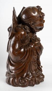 Sculpture de vieil homme japonais, XIXème