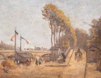 Vue du Louvre et du Pont Royal depuis la rive gauche, huile sur panneau de E. H. Vanhnschout, fin XIXème