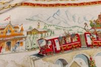 """Grand plaid """" Modèle Train de Noël"""" haute qualité 100% Lin fabriqué en Italie"""