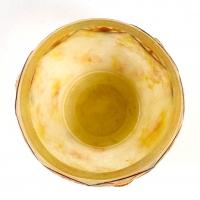 """Coupe """"Chardons des Alpes"""" pâte de verre jaune, orange et noir créée par Gabriel ARGY-ROUSSEAU"""