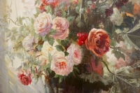Nature morte aux fleurs et aux fruits signée Vincent.XIXème siècle.