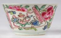 Série de 6 sorbets et soucoupes Famille rose demi-coquille, période Yongzheng
