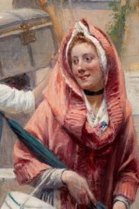Adrien MOREAU (1843-1906) - La rencontre galante au port