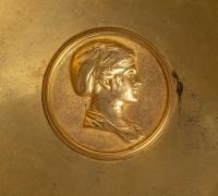 Paire de coupes en bronze doré et marbre, XIXème siècle