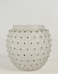 """René lalique Vase """"Cactus"""" émaillé noir"""