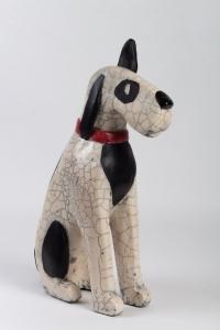 "Sculpture "" Fox terrier "" en raku"