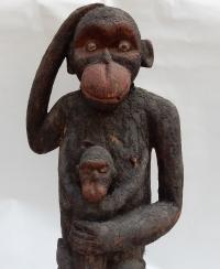1950' Chimpanzé Bois Sculpté (Paternité) Cameroun
