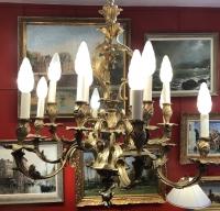 LUSTRE Rocaille de style LOUIS XV d'époque Napoleon III Suspension 19ème siècle en bronze doré 12 lumières