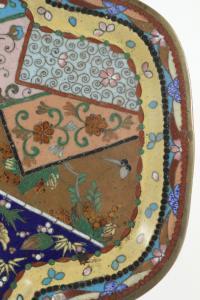 Plateau en cuivre cloisonné décor patchwork