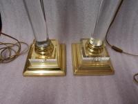 1970′ Paire De Lampes En Altuglass Et Laiton Doré