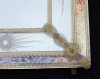 1970 Miroir Aux Etoiles Filantes Style Véronese  Rectangulaire Parecloses et Fleurs Dorées a l Or 102 X 82 cm