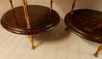 1950/70′ Paire de Guéridons Maison Baguès Décor Bambou en Bronze Doré Avec Plateaux Laque de Chine