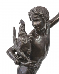 Le Vainqueur Au Combat De Coqs Par Alexandre Falguière (1831-1900)