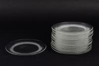 Service de 12 assiettes « Bambou » verre blanc de René LALIQUE