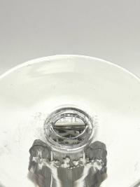 """Suite de Neuf 9 Verres à Liqueur """"Strasbourg"""" verre blanc patiné gris de René LALIQUE 11.6cm"""