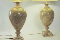 Paire of marble lamps from the 20th Century.