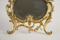 Table Mirror Gilt Bronze Original, Napoleon III, Louis XV Style, 19th Century