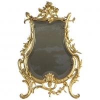 Table Mirror Gilt Bronze Original, Napoleon III, Louis XV Style, 19th Century