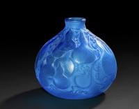 """RENÉ LALIQUE Vase """"Courges"""" Bleu Electrique"""