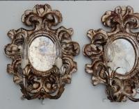 1950' Paire d Appliques Renaissance Italienne de Style En Bois Argenté
