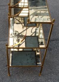 1950/70' Paire d'Etagères en Laiton à 3 Niveaux Maison Bagués Forme Escabeau Plateaux Miroirs Vieillis