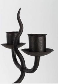 1950 Paire de candélabres Ateliers Marolles en fer forgé noir