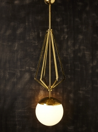 Four Brass Geometrical Suspension with a Large White Glass Globe