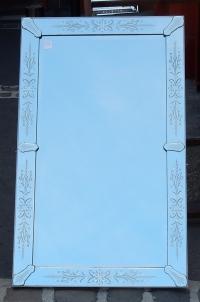 1950/70' Miroir rectangle Venise avec cabochons en flèches 83 x 137 cm