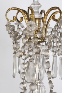 A Pair of French 19th Century Louis XVI St. Ormulu and Baccarat Crystal Girandoles.