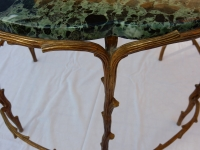 1950' Table De Salon En Bronze Doré Décor Végétal Style Maison Charles
