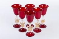 Six Verres Vénitiens ( Murano) Rouges Rubis à 2 Cygnes 1910