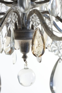 Beau lustre montgolfière renversée en bronze argenté du XIXème siècle