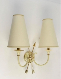 Pair of Neoclassical Sconces with Two Crossed Arrows by Maison Lunel, 1950