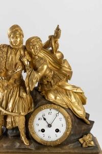 Pendule Orientaliste aux figures de turcs dans un goût romantiques d'époque Restauration (1815-1830)